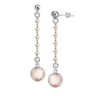 Earrings with beige crystals and peach pendant