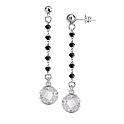 Earrings with black crystals and crystal pendant