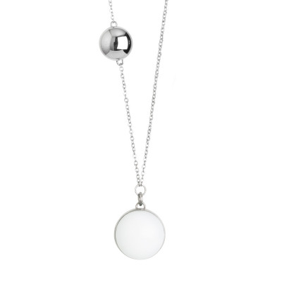 Steel necklace with white milk cabochon