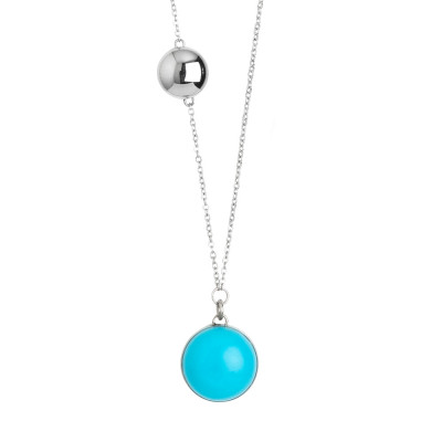 Steel necklace with cabochon sky