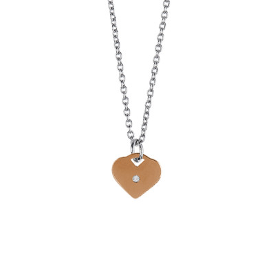 Necklace with pink heart and central strass