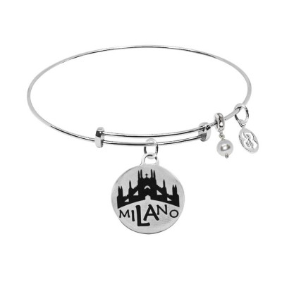 "Bracelet with medaglietta ""Milano"" and Swarovski pearl"