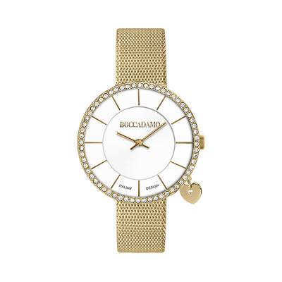 Gold watch with two-level dial and side-heart charm