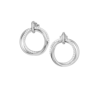 Silver hoop earrings with cubic zirconia