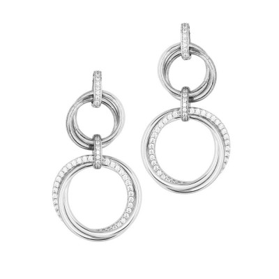 Earrings with braided pendent circles and zircons