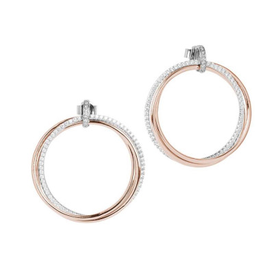 Earrings with maxi circle pendant rose gold plated and zircons
