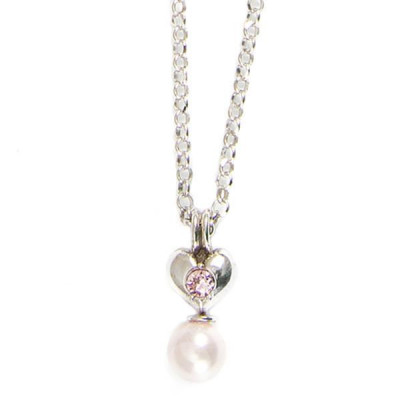 Necklace in silver with heart and pearls pink