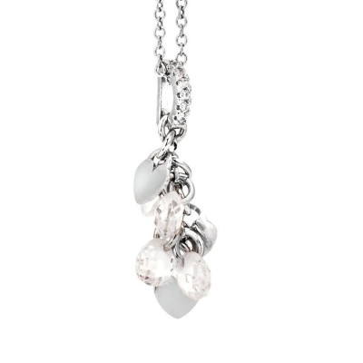 Necklace in silver with charms and zircons