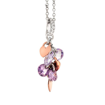 Necklace in silver with charms rose and lavender zircons