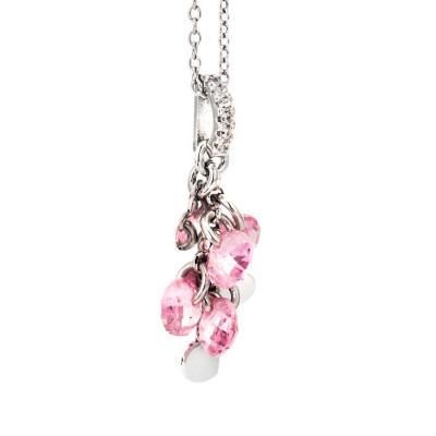 Necklace in silver with charms and zircons rosa