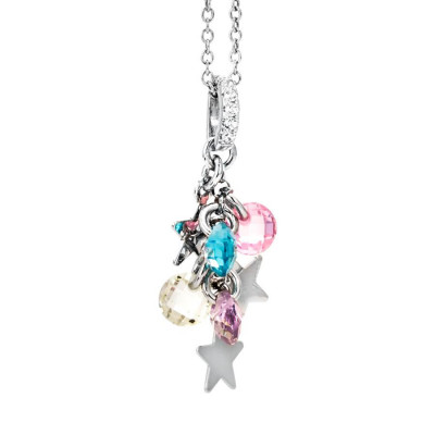 Necklace in silver with charms and zircons multi color