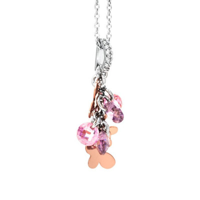 Necklace in silver with charms and zircons rose and lavender