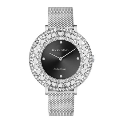 Silver watch with black dial, Swarovski and hearts