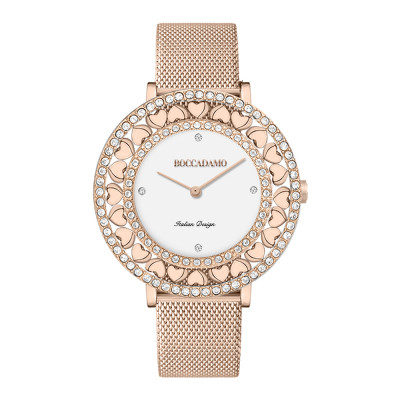 Rose gold watch with white dial, Swarovski and hearts
