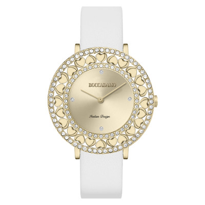 Gold watch with Swarovski and white genuine leather strap