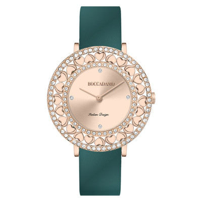 Rose gold watch with Swarovski and genuine oil green leather strap
