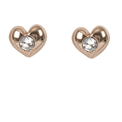 Earrings in the lobe gold plated pink with heart and Swarovski