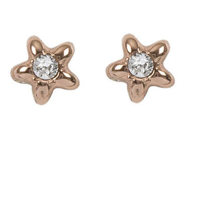 Earrings plated lobe pink gold with star and Swarovski