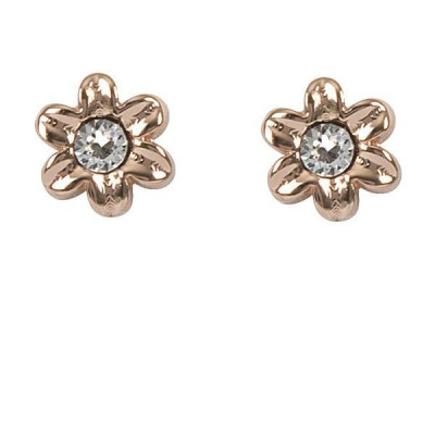Earrings in the lobe gold plated pink with flower and Swarovski