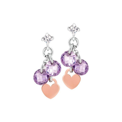 Silver earrings with charms rose and lavender zircons