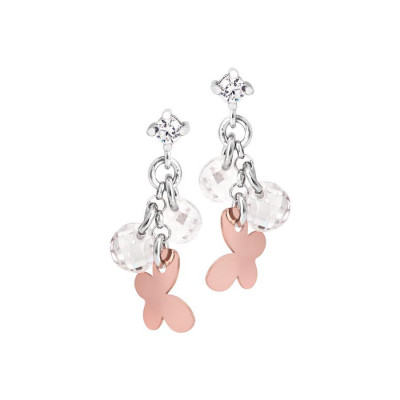 Silver earrings with charms rose and white zircons