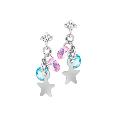 Silver earrings with charms and zircons multicolor