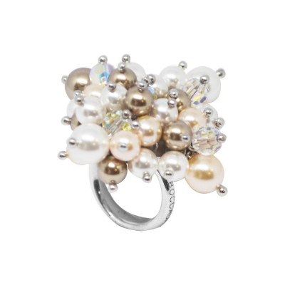 Ring with a bouquet of crystals and Swarovski beads aurorora boreal, bronze, peach and white