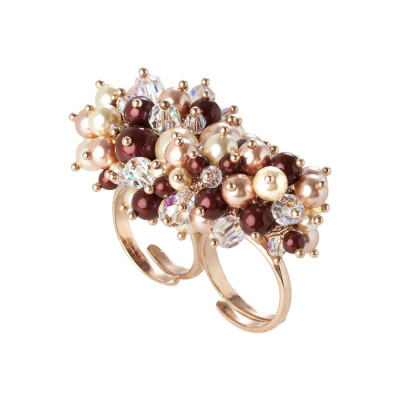 Double loop with a bouquet of crystals and Swarovski beads aurorora boreal, bordeaux, light gold rose and peach