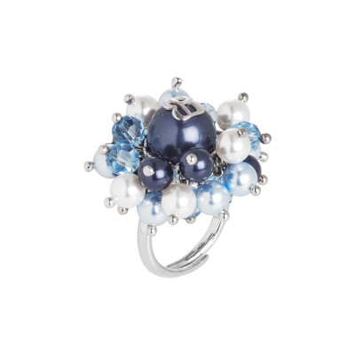 Ring with night blue Swarovski pearls, light blue and white and crystals
