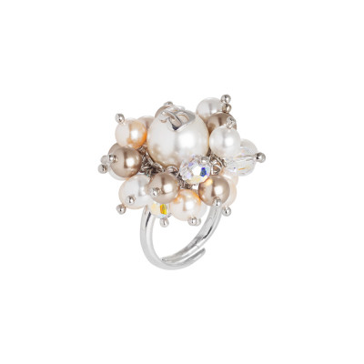 Ring with Swarovski bronze pearls, peach, rose and white cream and crystals