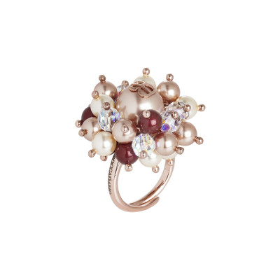 Ring with bordered Swarovski pearls, rose gold and light gold and crystals