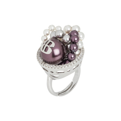 Ring with burgundy pearls and zircons decoration