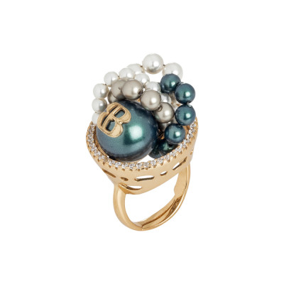 Ring in yellow gold plated silver with cubic zirconia and Swarovski pearls