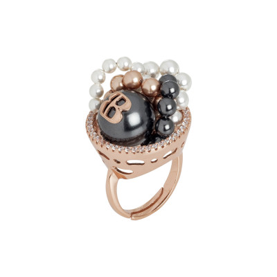 Ring in rose gold-plated silver with cubic zirconia and Swarovski pearls