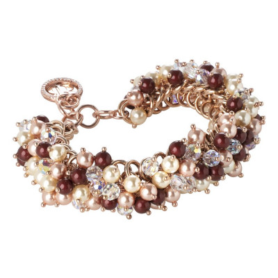 Bracelet with Swarovski beads bordeaux, light gold and rose peach and crystal aurora borealis