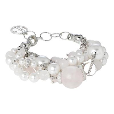 Bracelet with rose quartz and Swarovski beads white