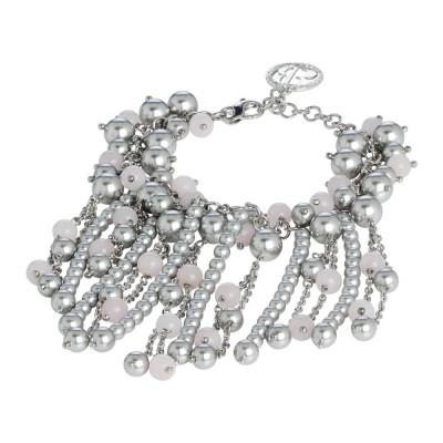 Bracelet with rose quartz and Swarovski beads light gray