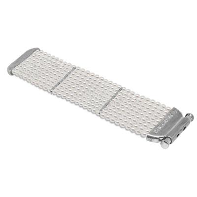 Bracelet soft band with strings of pearls swarovski white