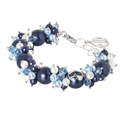 Bracelet with pearls and Swarovski crystals with blue and zircon nuances