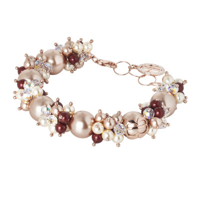 Bracelet with pearls and Swarovski crystals with pink and zircon nuances