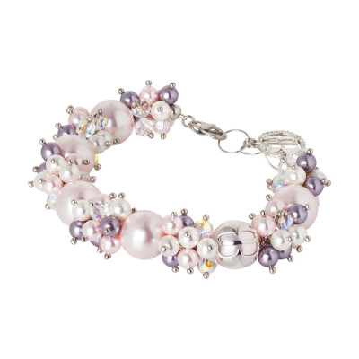 Bracelet with pearls and Swarovski crystals in shades of purple and zircons