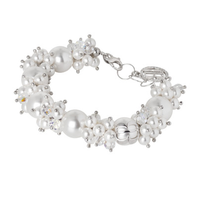 Bracelet with pearls and white Swarovski crystals and zircons