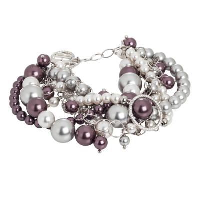 Bracelet with Swarovski burgundy, gray and zircon pearls
