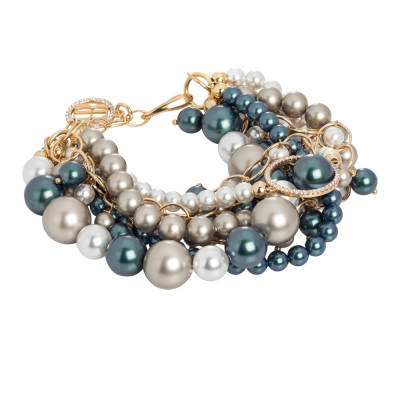 Golden bracelet with strings of Swarovski pearls and zircons