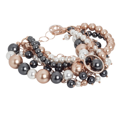 Rosé bracelet with strings of Swarovski pearls and zircons