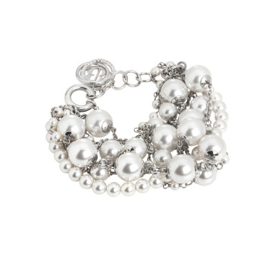 Rhodium-plated bracelet with strands of white Swarovski pearls and zircons