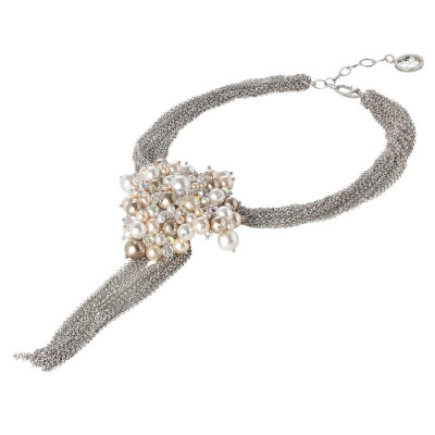 Multi-Strand necklace with central pearls and Swarovski Crystals