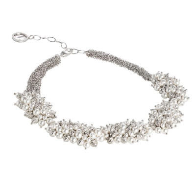 Multi-Strand necklace with compositions of Swarovski beads and diamond balls