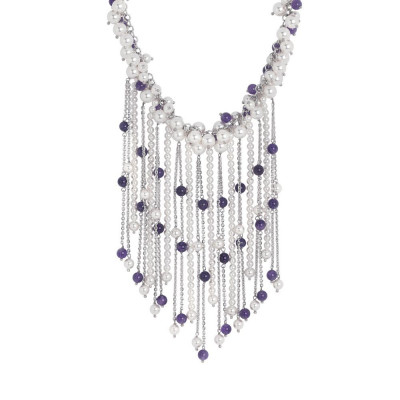 Necklace with fringes of Swarovski beads and amethyst
