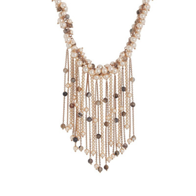 Necklace with fringes of Swarovski pearls and stones mix brown
